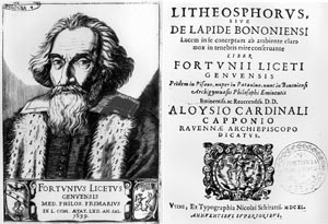 Zone de Texte:    Fig. 1. A portrait of Fortunius Licetus and the title-page of his book 'Litheosphorus Sive De Lapide Bononiensi' (1640)ã. The original volume can be found in the Historical Section of the University Library of Bologna, Italy.