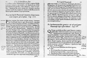 Zone de Texte:    Fig. 2. Pages 12 and 13 of the original volume 'Litheosphorus Sive De Lapide Bononiensi' by Fortunius Licetusã. The original volume can be found in the Historical Section of the University Library of Bologna, Italy.